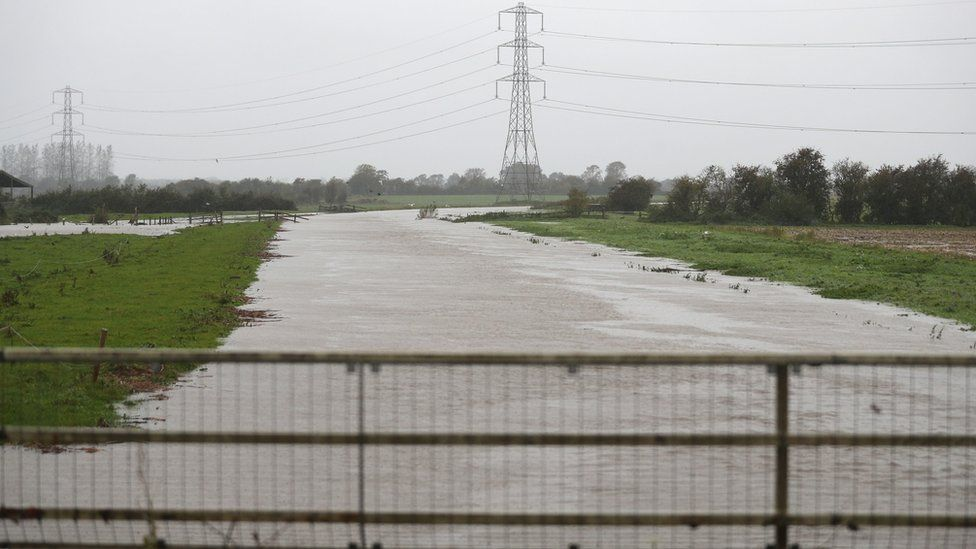 A flooded River Brue near to Westhay in Somerset