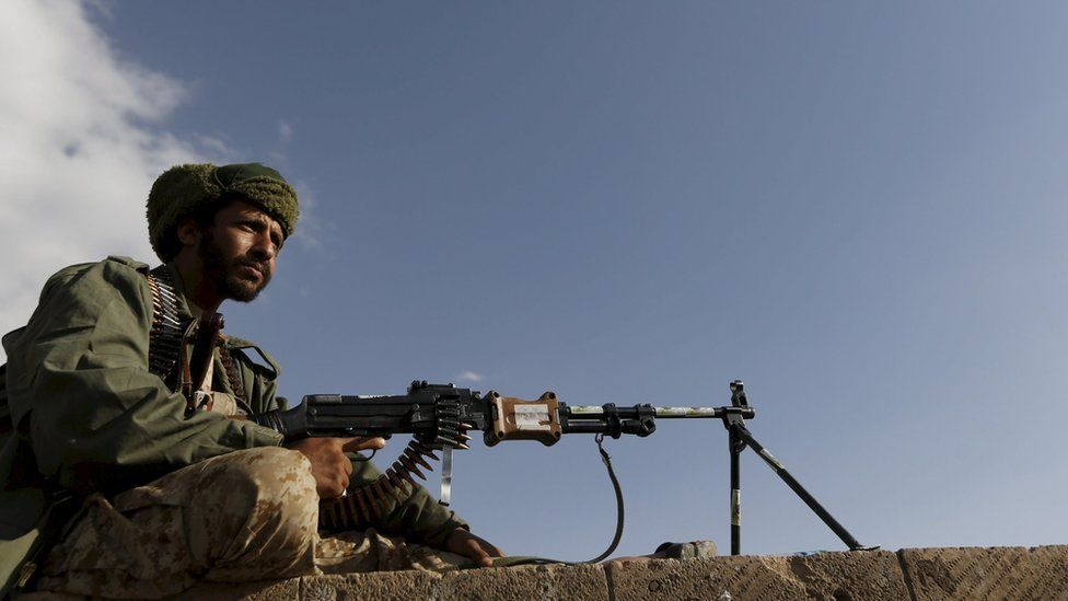 A Houthi militant holds a weapon (file photo)