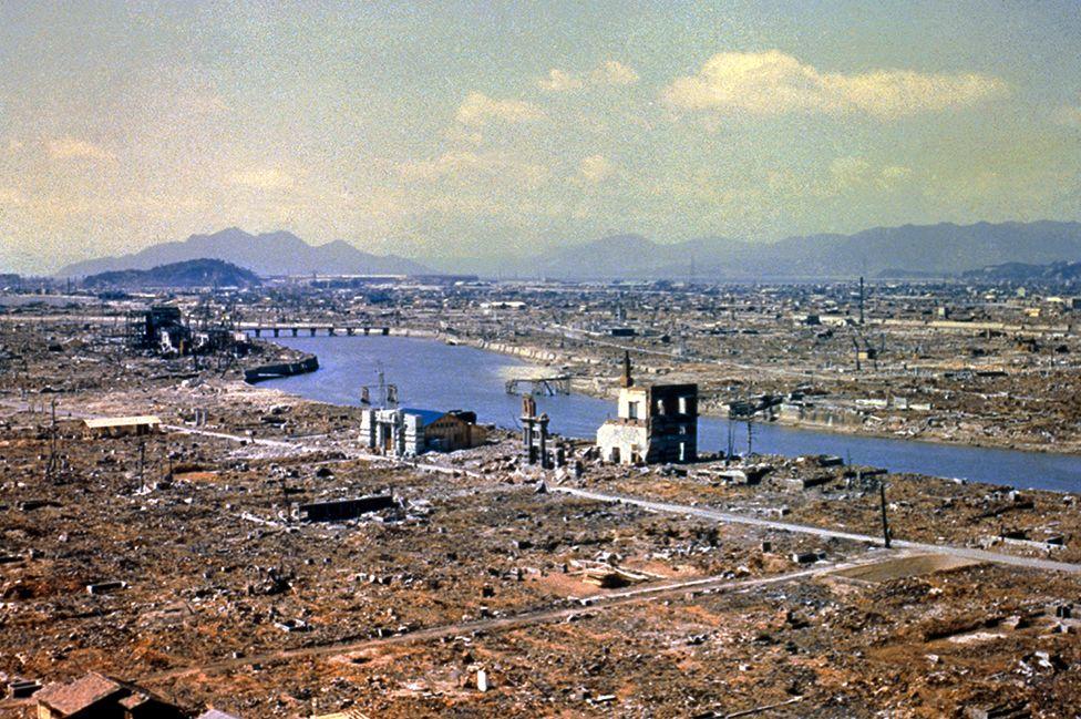 廣島的絶大多數建築物被原子彈摧毀