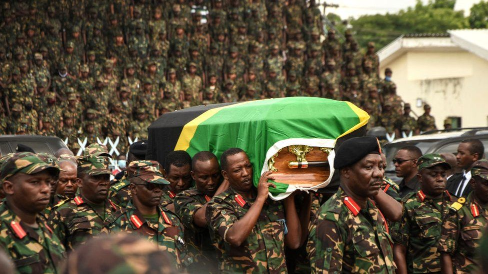 President Magufuli's coffin was processed through the streets of Dar es Salaam