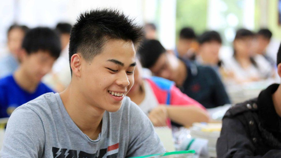 Students sit the 2014 college entrance exam in China, or the 'gaokao', in Rongan.