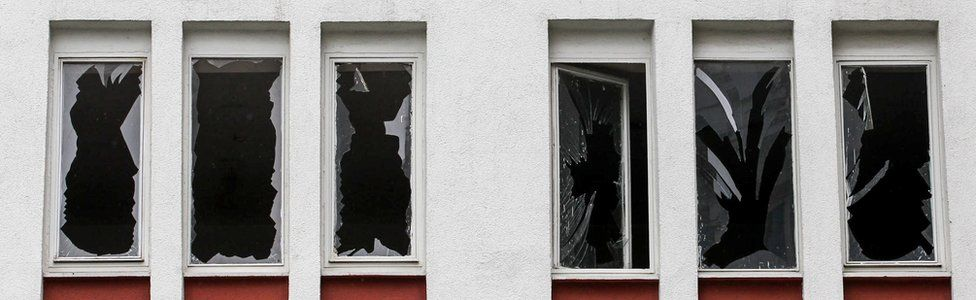 Broken windows on a building near to the scene of an attack in Istanbul