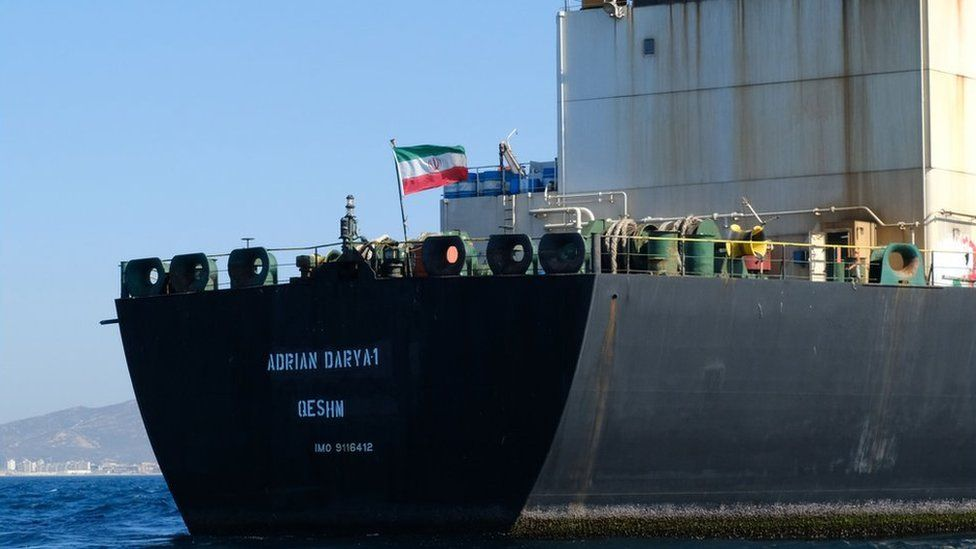 In this file photo taken on August 18, 2019 an Iranian flag flutters on board the Adrian Darya oil tanker, formerly known as Grace 1, off the coast of Gibraltar.