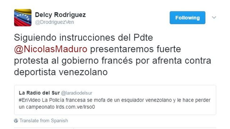 """Tweet by Venezuelan Foreign Minister Delcy Rodriguez reading: """"Following instructions by @PresidentMaduro we will deliver a strong protest to the French government for the affront against the Venezuelan athlete""""."""