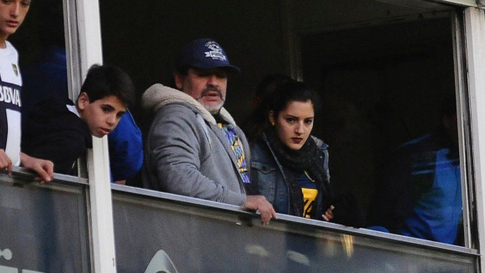 Maradona and his daughter Jana Maradona during a match between Boca Juniors and Quilmes in 2015