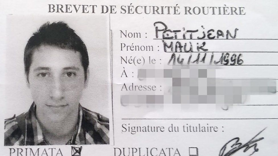 Abdel Malik Petitjean's driver's licence