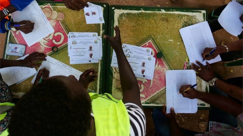 Election workers start the counting of ballots during the second round of Guinea Bissau's presidential election in Bissau, Guinea-Bissau December 29, 2019.