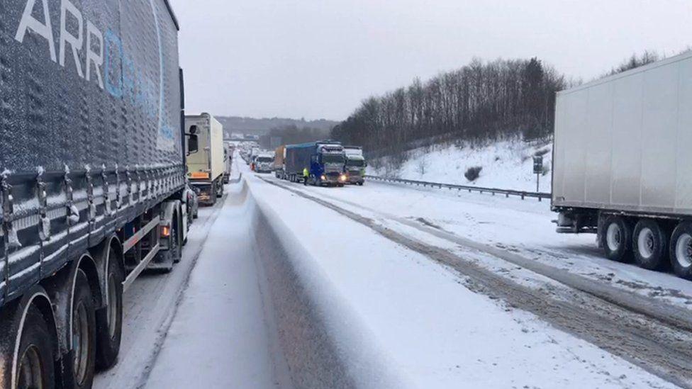 Snowy motorway
