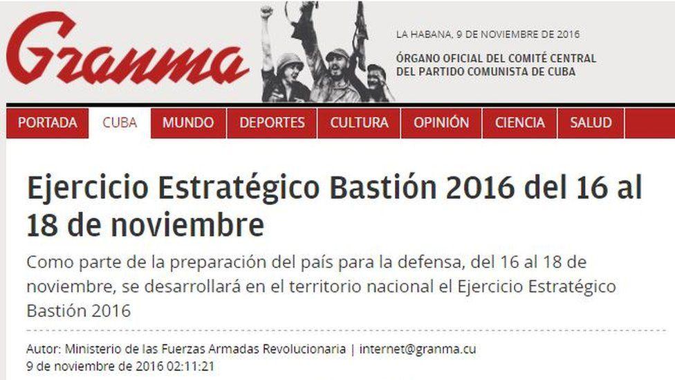 "Headline reading ""Bastion Strategic Exercise 2016 will run from 16 to 18 November"""