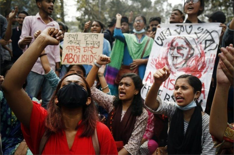 Left wing students protests in Dhaka, 01 March 2021, against the Digital Security Act