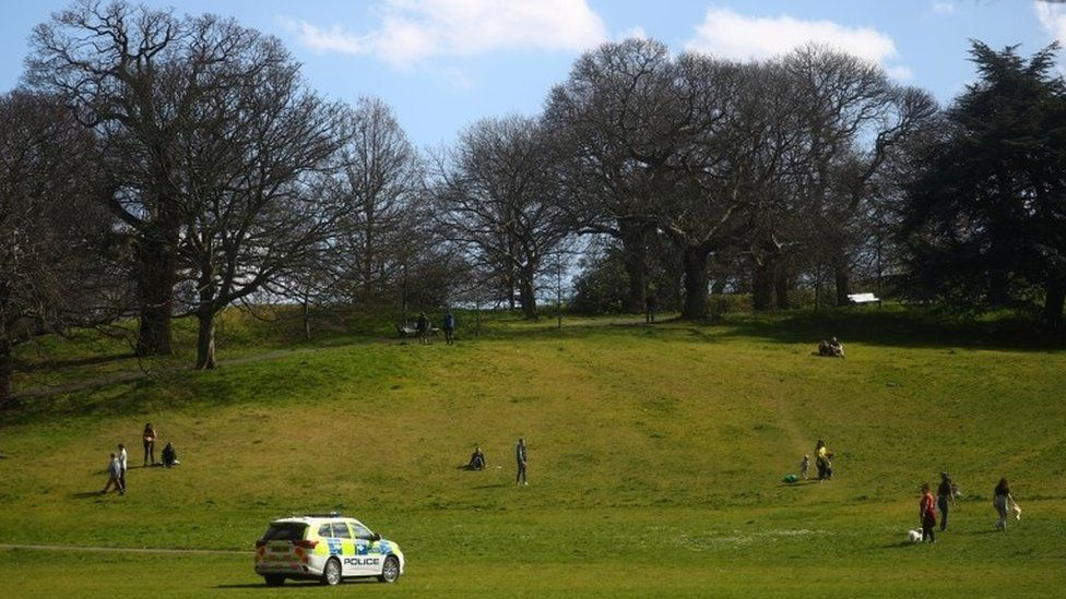 A Police car is seen in Greenwich Park, as the spread of the coronavirus disease (COVID-19) continues, London, Britain, April 4, 2020.