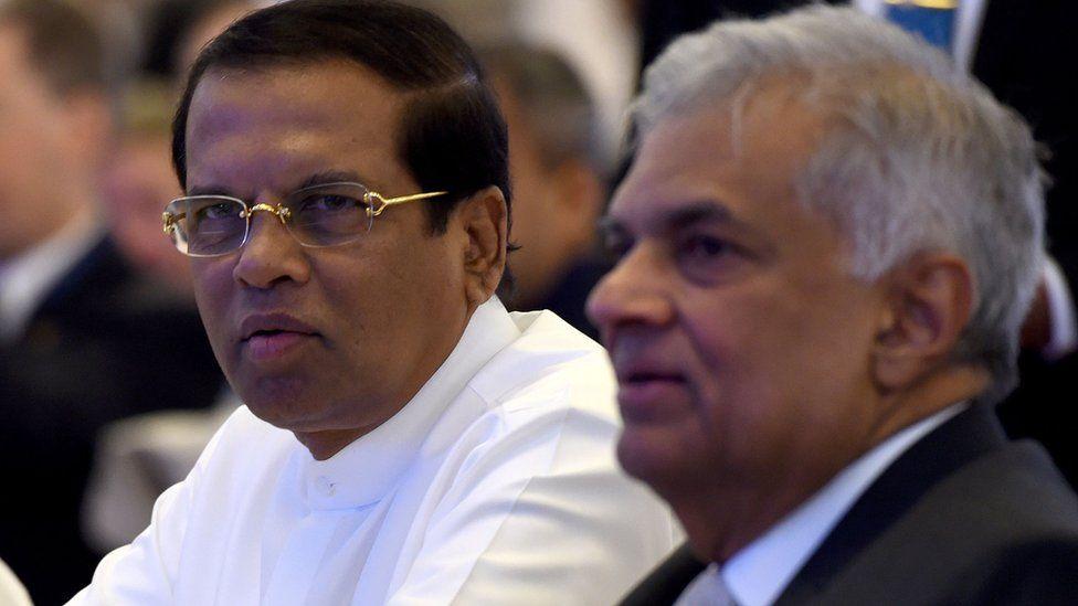 President Maithripala Sirisena, left, with Ranil Wickramasinghe