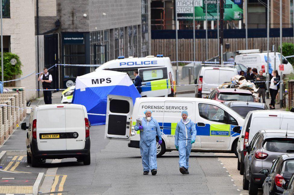 Police cordon in Hayes
