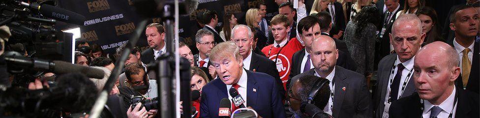 Donald Trump addresses reporters in in North Charleston, South Carolina, 14 January