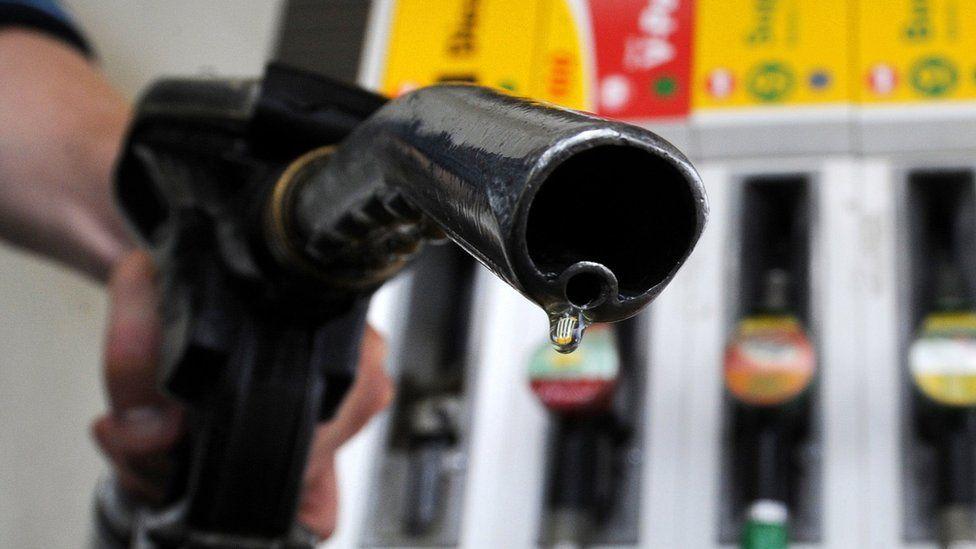 Close-up of fuel nozzle at petrol pump