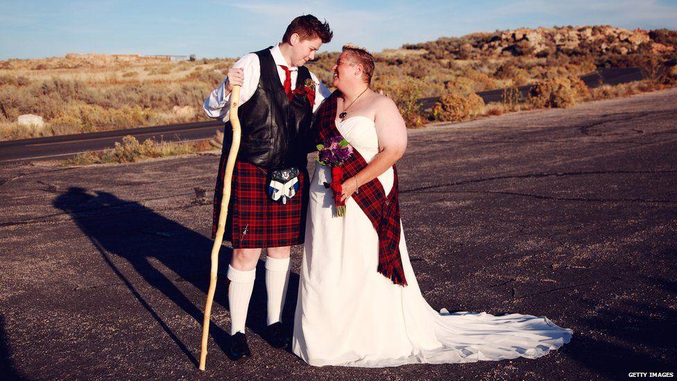 Scottish wedding on an isolated path