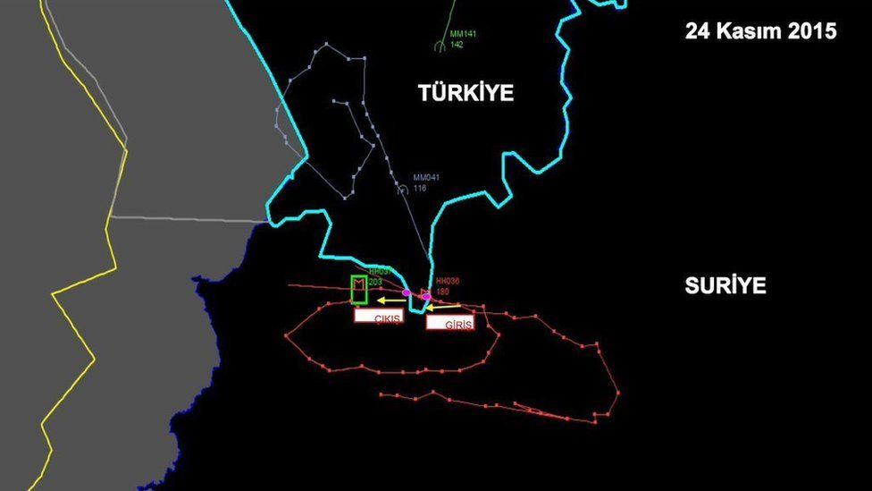 Radar map published by Turkish armed forces purportedly showing track Russian Su-24 crossed into Turkish airspace before being shot down on 24 November 2015