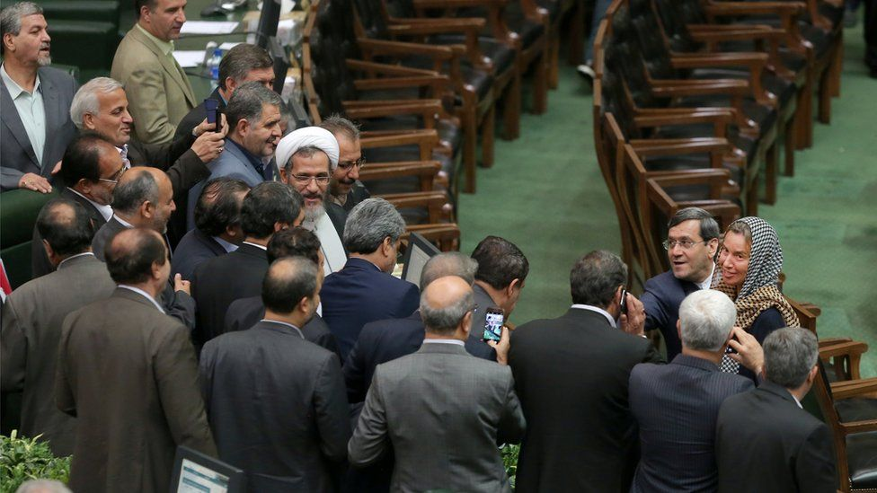 European foreign policy chief Federica Mogherini attends a swearing-in ceremony for Iranian president Hassan Rouhani for a further term, at the parliament in Tehran