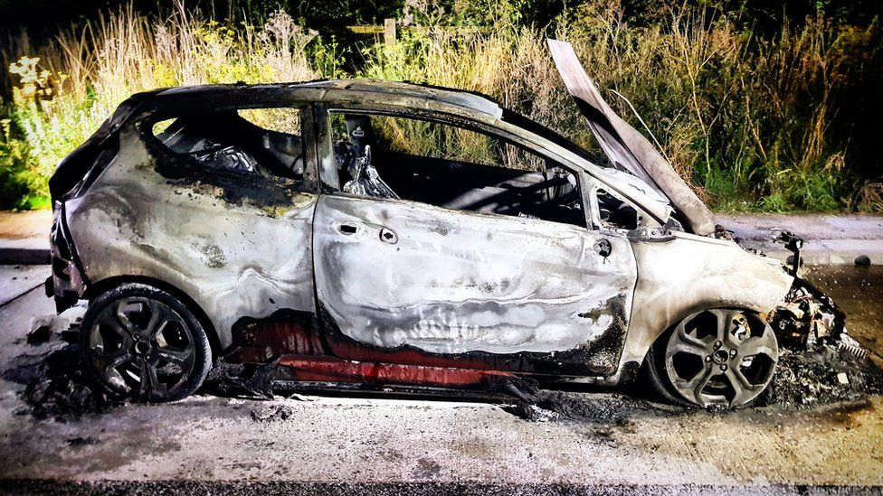 George Roberts' car after the fire