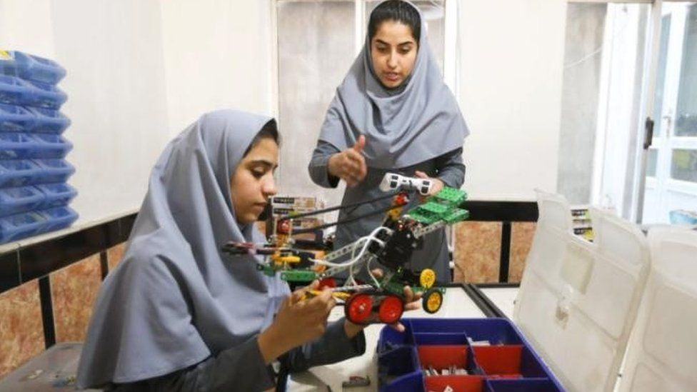 Two members of the Afghan robot team