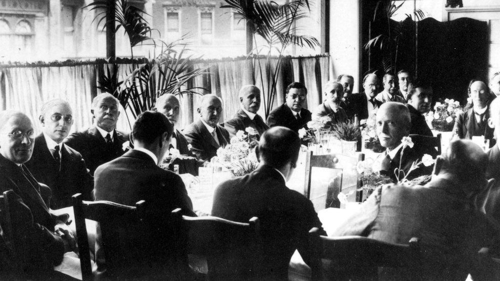 The HMV Store opening luncheon in July 1921 with Sir Edward Elgar (sixth from left)