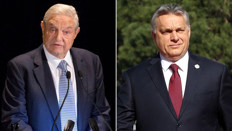 George Soros (left) and Viktor Orban (right)