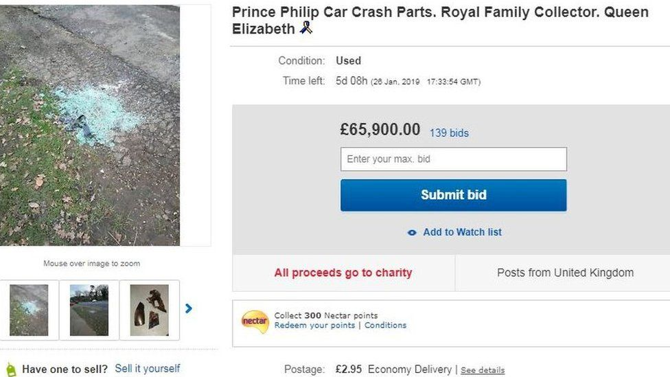 Prince Philip crash: Debris for sale on eBay - BBC News