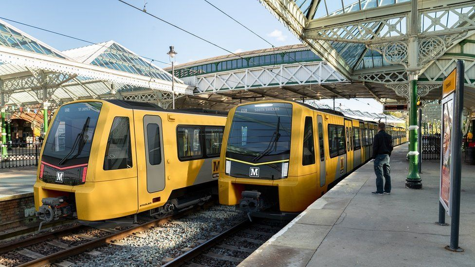 Artist's impression of the new Metro trains with their yellow, grey and black livery