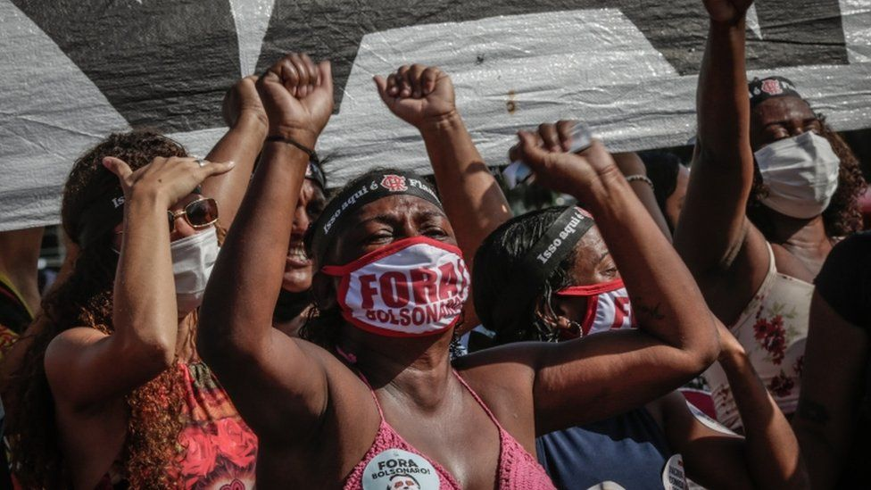 A protest against Jair Bolsonaro in Rio, Brazil, 29 May 2021