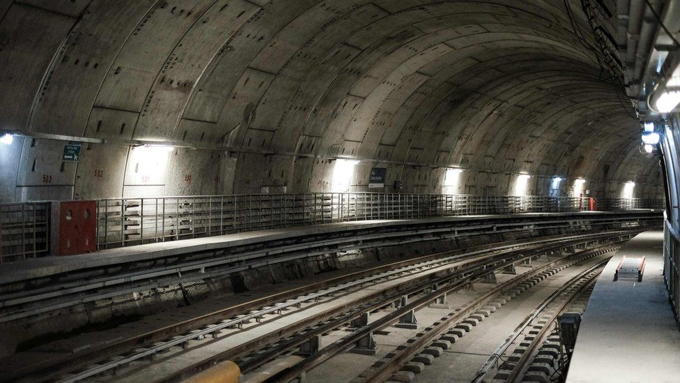 View of the new Nossa Senhora da Paz metro station as a part of the expansion works of the Rio metro for the Olympics, on 2 June