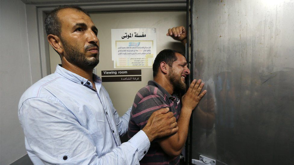 A relative of a Palestinian who was killed by Israeli troops east of Khan Younis, reacts at hospital in the central Gaza Strip July 20, 2018.