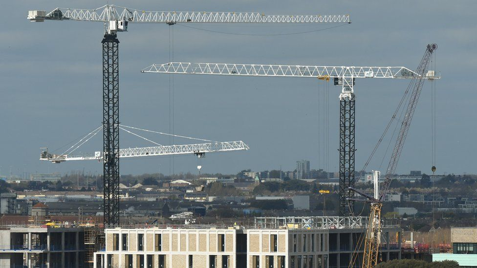 Cranes on a building site in Dublin