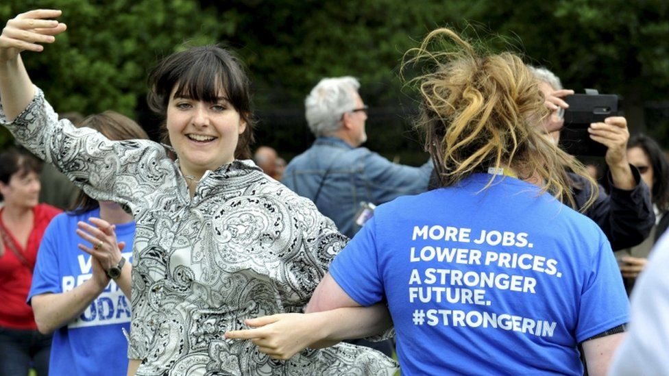 People take part in a flash mob Ceilidh dance in a show of support for the campaign to remain in Europe, ahead of the EU Referendum, in Edinburgh