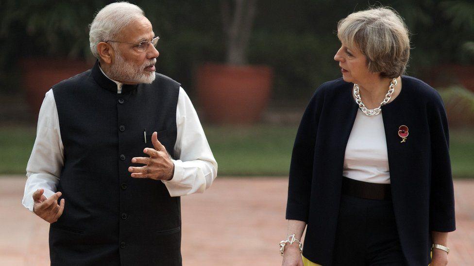 Narendra Modi and Theresa May