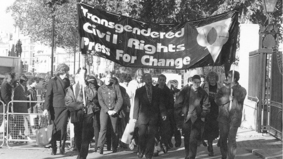 Activists in 1997 delivering a 10,000 signature petition to Downing Street to press for greater transgender rights