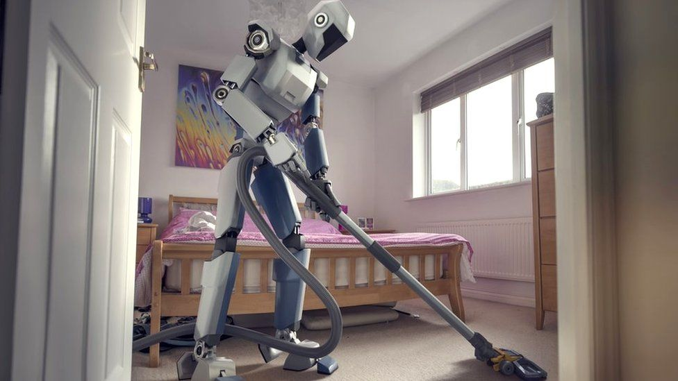 Fictional robot doing the hoovering