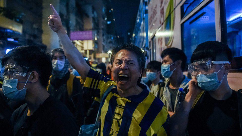 A man yells during pro-democracy protests in Hong Kong