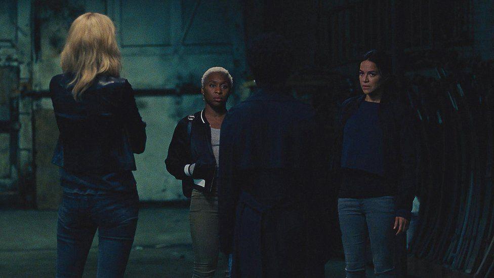 Elizabeth Debicki, Cynthia Erivo, Viola Davis and Michelle Rodriguez in Widows