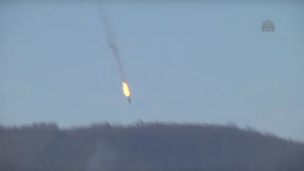Video footage published by Anadolu news agency purportedly showing unidentified military aircraft crashing into mountains near Turkey's border with Syria (24 November 2015)