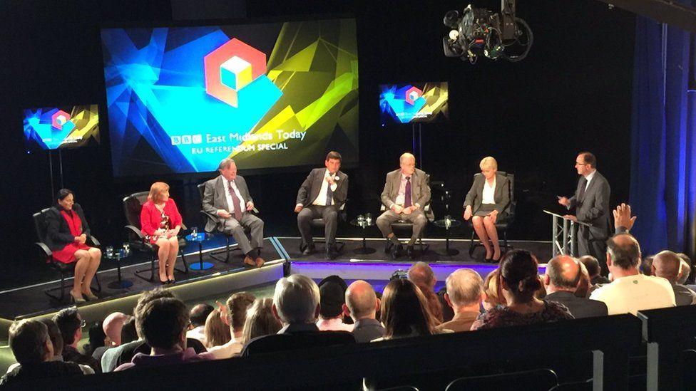 Entrepreneur Madi Sharma, MEP Glenis Willmott and Ken Clarke MP argued in favour of remain while MP Andrew Bridgen, MEP Roger Helmer and businesswoman Julie Price