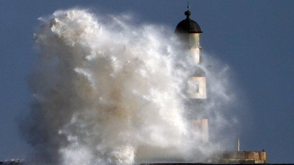 The lighthouse at Seaham in Durham in stormy weather