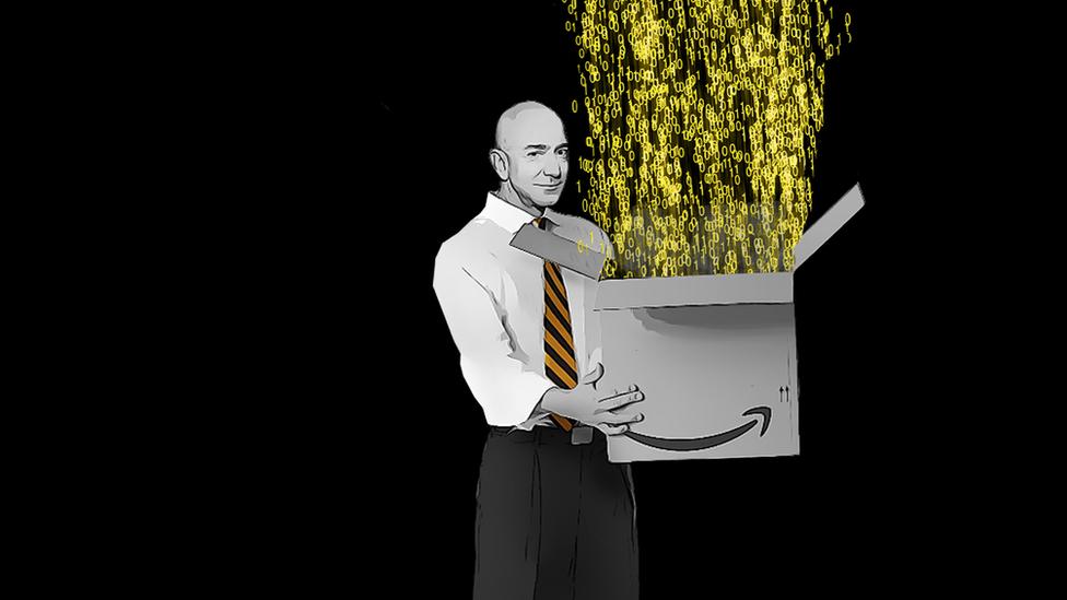 Illustration of Jeff Bezos holding an Amazon delivery box
