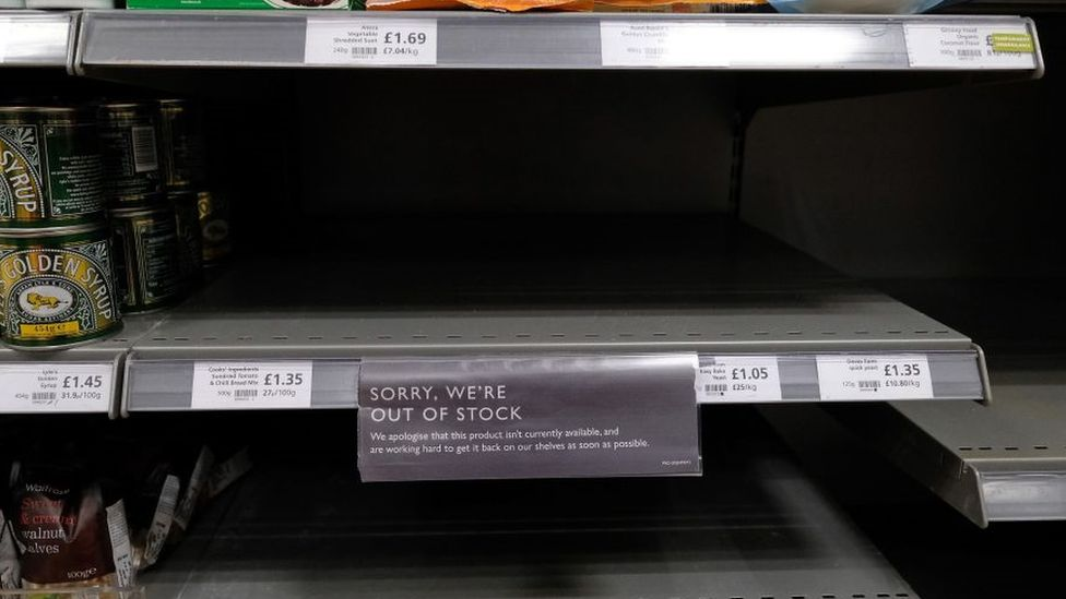 Empty flour shelf in a supermarket
