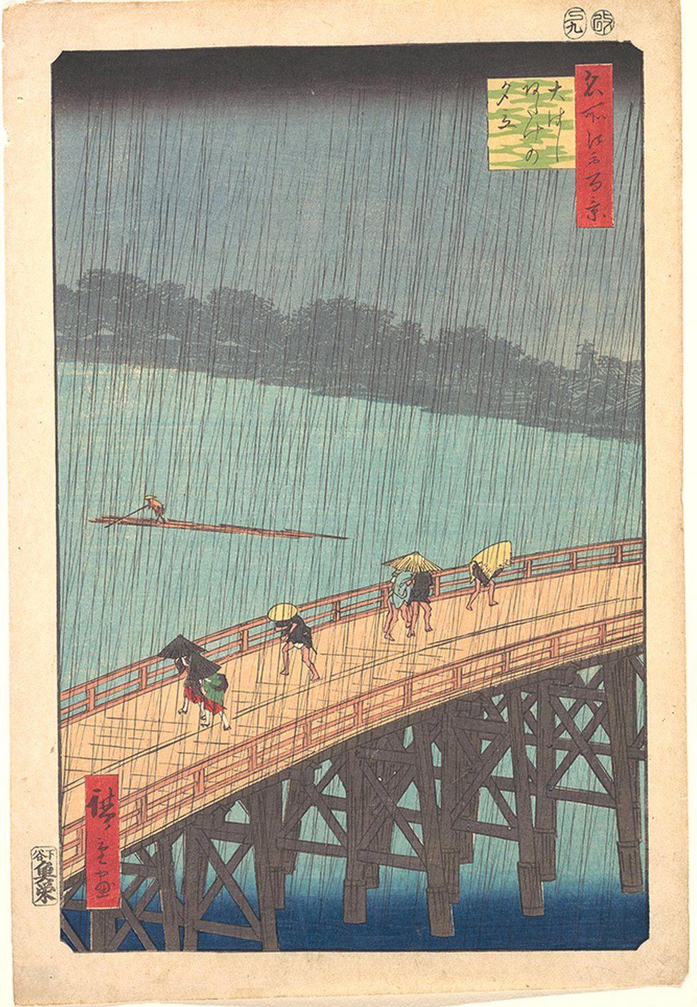 Sudden Shower over Shin-Ōhashi Bridge and Atake by Utagawa Hiroshige