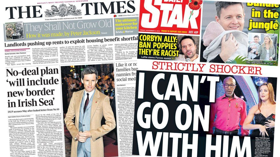 The Times and the Daily Star front pages