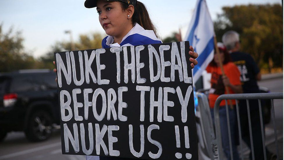 Protesters against the Iran nuclear deal