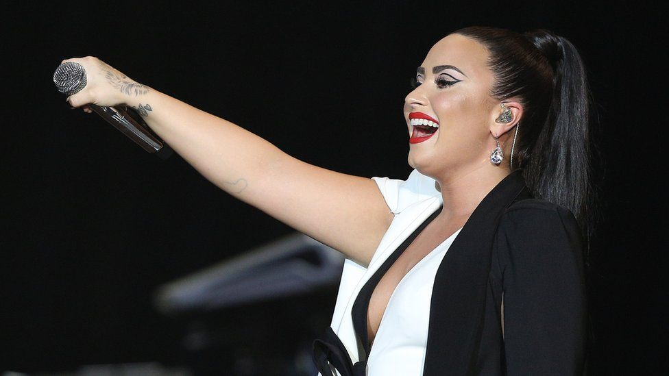 US singer Demi Lovato performs at the Rock in Rio Lisboa