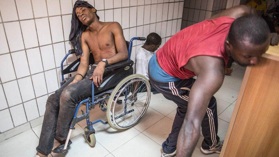 Wounded protesters at a hospital in Libreville. 1 September 2016.