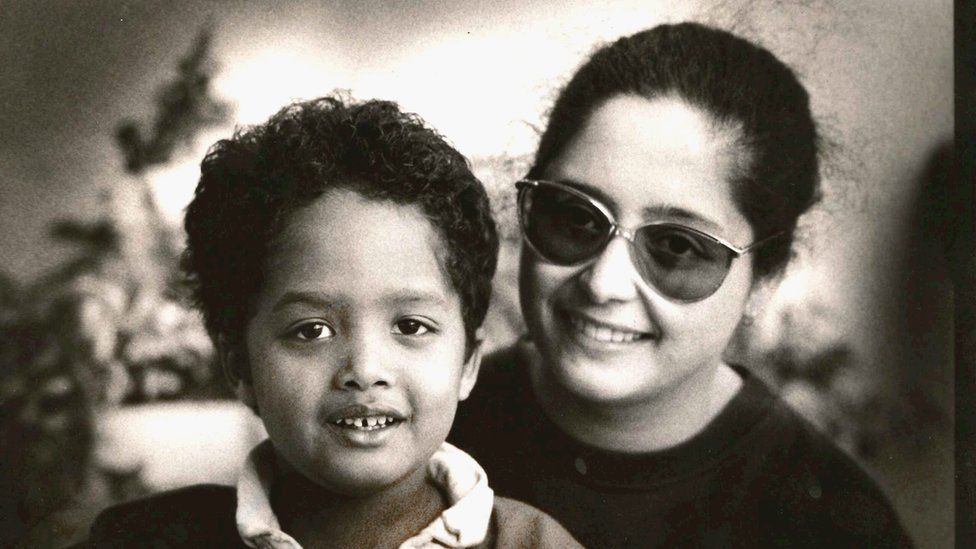 Stephen Bush as a six-year-old, with his mother Rachma Bush