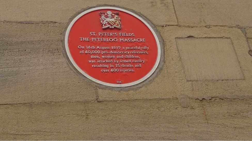 Peterloo plaque, Free Trade Hall/Raddisopn Hotel, Manchester